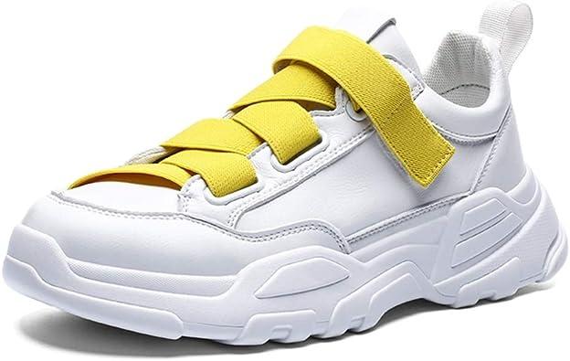 Zapatillas de Deporte para Hombre Tallas Grandes 39-45 Plataforma de Moda Zapatos Antideslizantes Zapatos elásticos Ocasionales elásticos Transpirables Zapatos Deportivos de Cuero Blanco Negro: Amazon.es: Zapatos y complementos