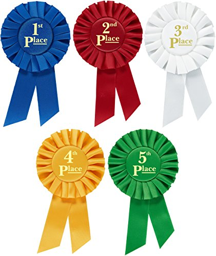 Rosette Premium Award Ribbons 1st 2nd 3rd 4th 5th Place Set Multipurpose for Ceremonies and Events 6 inch By Clinch Star