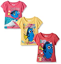Disney Little Girls\' Toddler 3 Pack Finding Dory T-Shirts, Yellow, 3T