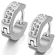 Flongo Men's Womens 4mm Wide Stainless Steel CZ Stud Hoop Huggie Earrings Charm Elegant