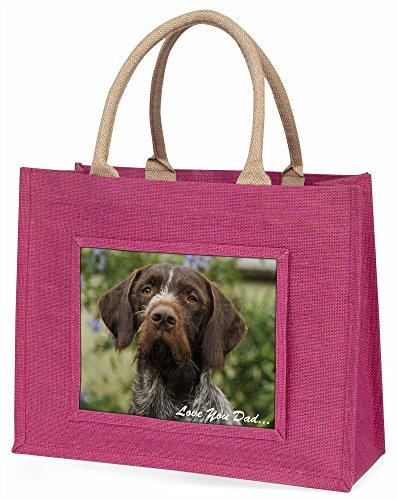 Advanta Deutsche Pointer Love You Dad Große Einkaufstasche/Weihnachtsgeschenk, Jute, pink, 42x 34,5x 2cm