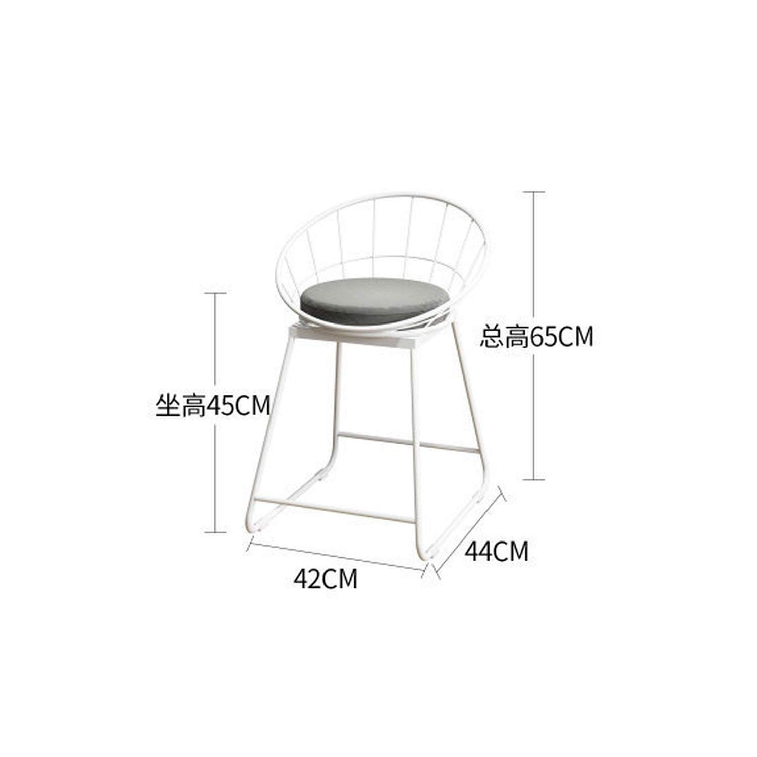 A-White-45cm tthappy76 Simple Bar Stool Wrought Iron Bar Chair gold High Stool Modern Dining Chair Iron Leisure Chair Nordic,C-gold-75Cm