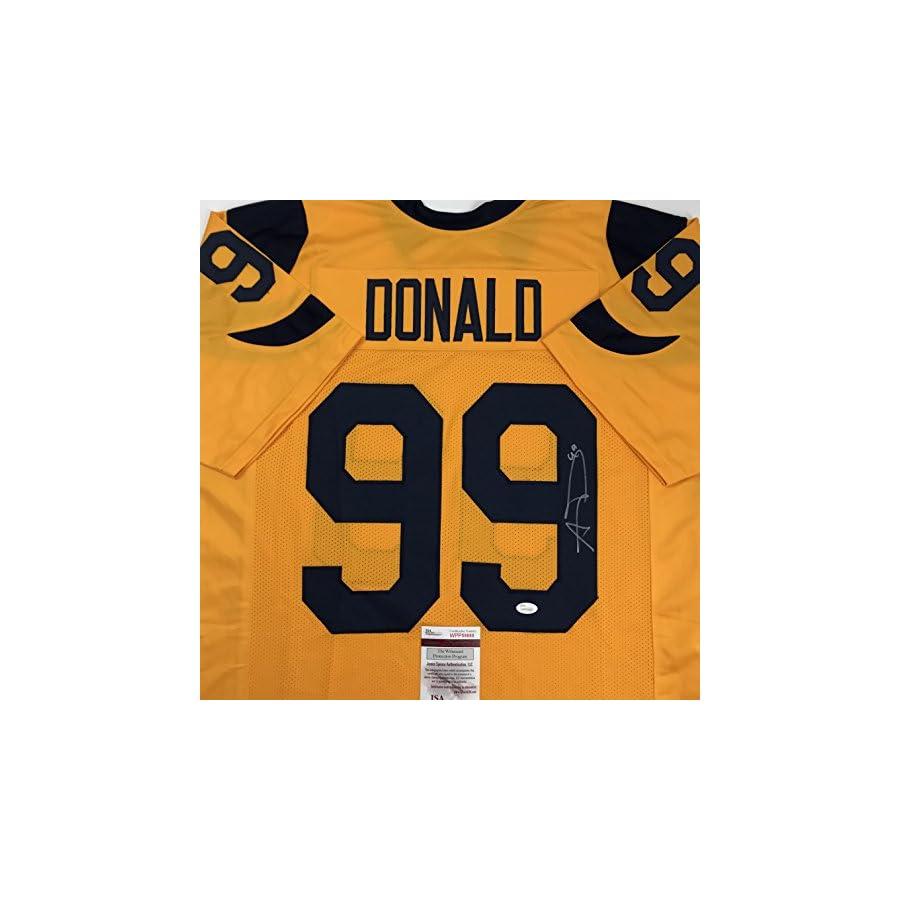 Autographed/Signed Aaron Donald Los Angeles LA Yellow Football Jersey JSA COA