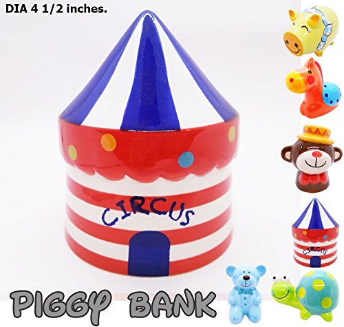 Piggy Bank Ceramic Cute Handmade Paint Coat Figurine Fancy Animal Decor Collect Coin Hight Quality (Circus Cute)]()
