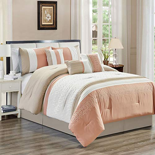 7 Piece Ximena Blush/Ivory/Taupe Comforter Set King