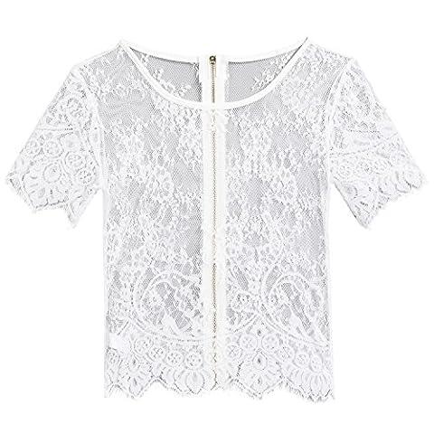 afferty Women Sexy Short Sleeve Zipper Back See-through Hollow Out Lace Crop Top Clubwear - Short Sleeve Zipper