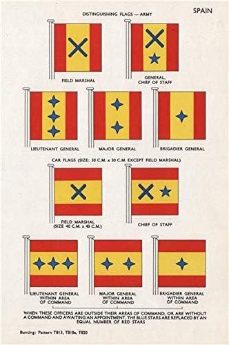 España Ejército coche Banderas Field Marshal Personal de Jefe de Lieut/major/brig-general – 1958 – Old Vintage envejecido – Lienzo Prints de España: Amazon.es: Hogar