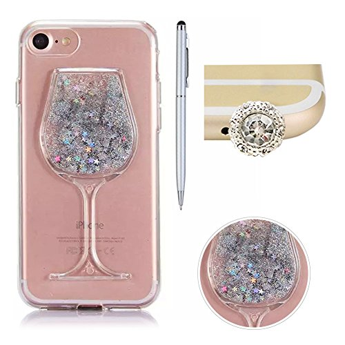 For iPhone 6S Case Transparent,SKYXD Creative Flowing Liquid Sparkle Quicksands Star Design[Soft TPU Bumper + Hard PC Wineglass]Hybrid Glitter Shine Soft Back Skin Cases for iPhone 6/6S 4.7
