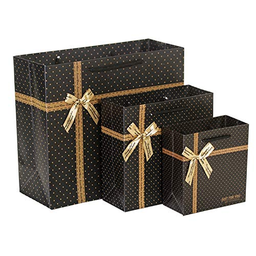 Gold Happy 5PCS Black Stripes Bow Polka dots Gift Paper Bag Packaging Shopping Wedding Birthday Carrier Bag 14157cm 20208cm 302712cm