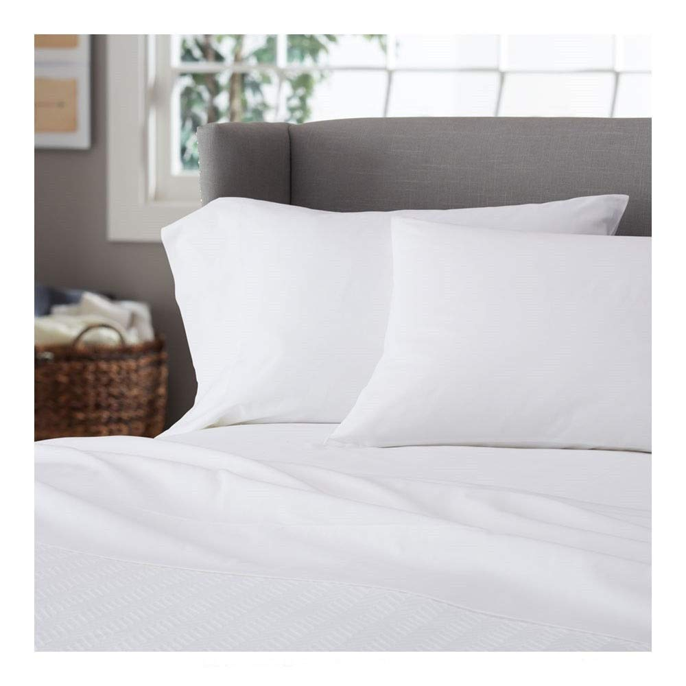 J&T Pillow Protectors Standard Size Pillow Covers White Bed Bug Zippered 20''x26'' (2 Pack)