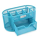 EasyPAG Mesh Desk Organization 9 Components Office Supply Caddy with Drawer,Blue