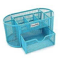 EasyPAG Mesh Desk Organizer 9 Componentes Accesorios de oficina Suministro Caddy con cajón, azul