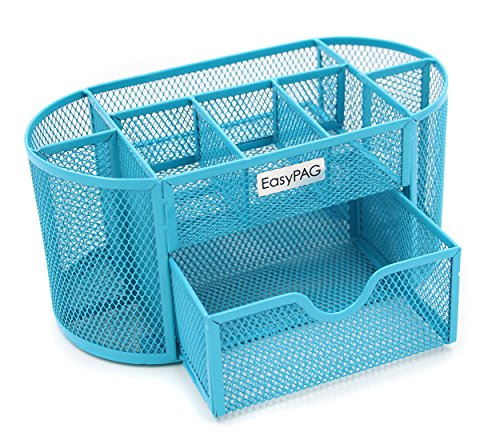 (EasyPAG Mesh Desk Organizer 9 Components Office Accessories Supply Caddy with Drawer,Blue)