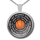 Basketball Necklace - Basketball GIfts For Son - Silver Plated Mother Father Son Encouragement Pendant