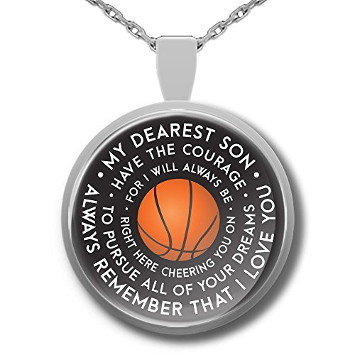 Basketball Necklace - Basketball GIfts For Son - Silver Plated Mother Father Son Encouragement Pendant (Cheap Spalding Basketball Hoops)