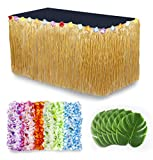 Cocowai Luau Party Decorations/Moana Party Supplies! 36x Flower Hawaiian Leis, Tropical Leaves Decoration and Grass Skirt for Buffet Table – Fun Tiki Bar, Beach Theme or Lilo and Stitch Birthday!