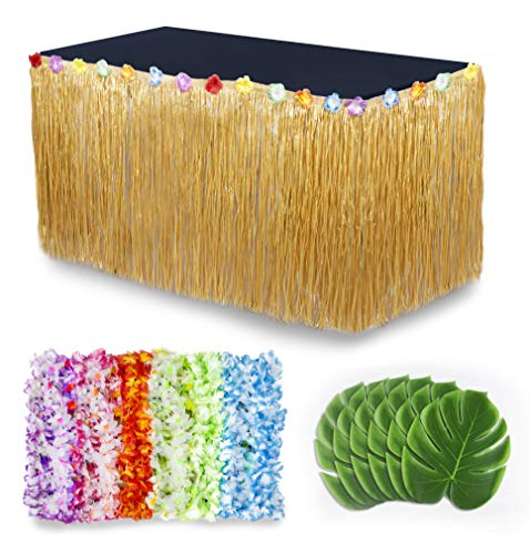 Tiki Bar Party Supplies (Cocowai Luau Party Decorations/Moana Party Supplies! 36x Flower Hawaiian Leis, Tropical Leaves Decoration and Grass Skirt for Buffet Table - Fun Tiki Bar, Beach Theme or Lilo and Stitch)