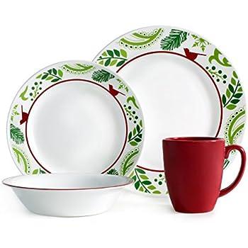 Corelle Impressions 16-Piece Dinnerware Set Birds and Boughs Service for 4  sc 1 st  Amazon.com & Amazon.com | Corelle 16 Piece Crimson Trellis Livingware Dinnerware ...