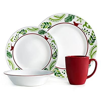 "Corelle Impressions 16-Piece Dinnerware Set, Birds and Boughs, Service for 4 - Service for 4 includes: 4 each 10-1/4"" Dinner Plates, 6-3/4"" Bread and Butter Plates, 18-Ounce Soup/Cereal Bowls, 11-Ounce Stoneware Mugs Made with break and scratch resistant patented Vitrelle glass technology Space saving design: lightweight and thin, yet extremely durable - kitchen-tabletop, kitchen-dining-room, dinnerware-sets - 51yU0kQFQ1L. SS400  -"