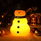 DFL Lovely Christmas Snowman with Green Scarf,real Wax led Candle with Timer,,Battery-Operated