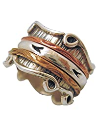 "Energy Stone ""SANTA FE"" Sterling Silver Meditation Spinning Ring with Brass Copper and Silver Spinners (Style# SR08)"