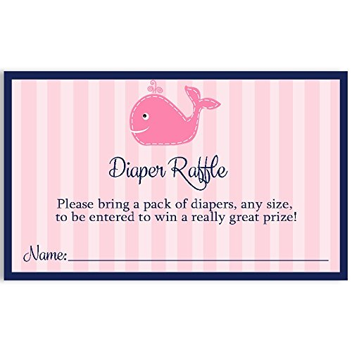 Nautical Baby Shower Diaper Raffle Ticket, Girl, Anchors Away, Sailboat, Ship, Stripes, Navy Blue, Pink, Anchor, Sprinkle, It's a Girl, 25 Pack Printed Diaper Raffle Tickets