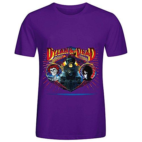 Bob Dylan Dylan The Dead 80s Album Cover Mens Crew Neck Digital Printed Shirts Purple - Firearm Lamp