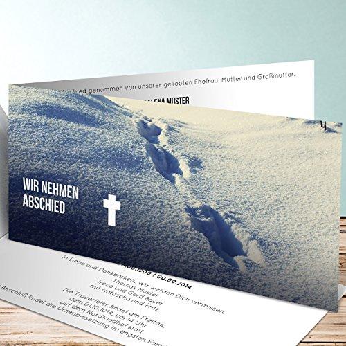 Einladungskarten Beerdigung, Spuren im Schnee 130 Karten, Horizontale Klappkarte 210x100 inkl. weiße Umschläge, Lila