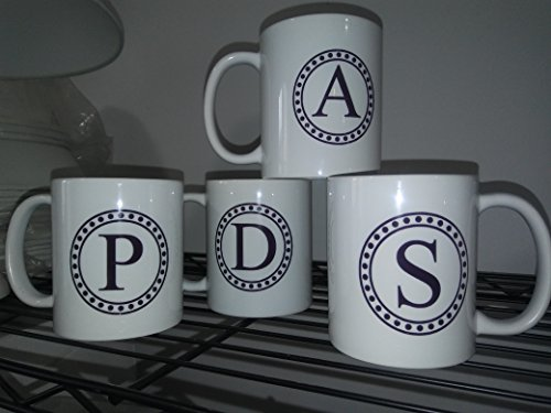 (Monogrammed coffee , tea Mug - Personalized all Alphabet letters Initial , left or right handed Coffee Mug - Custom Letter - Mug - Personalized Mug - Gift for him - Gift for Her ,)