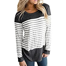 Clearance Todaies Womens Long Sleeve Blouses Round Neck T Shirts Color Block Striped Causal Blouses Tops