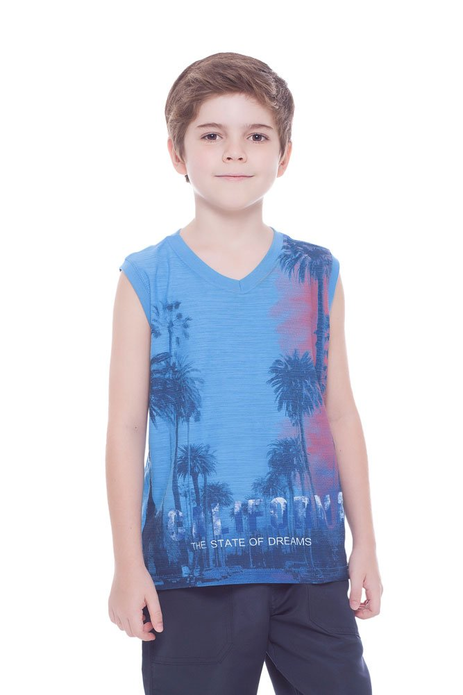 Pulla Bulla Boys Tank Top Summer V-Neck Graphic Muscle Shirt Kids 2-10 Years 32353
