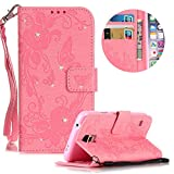 Leather Case for Samsung Galaxy S5 Butterfly Flower Pattern Girls Women Cover, MOIKY Luxury Glitter Sparkle Shiny Bling Rhinestone Magnetic Closure Wallet Pockets Credit Card Holder Flip Stand Cover Case For Samsung Galaxy S5 - Pink