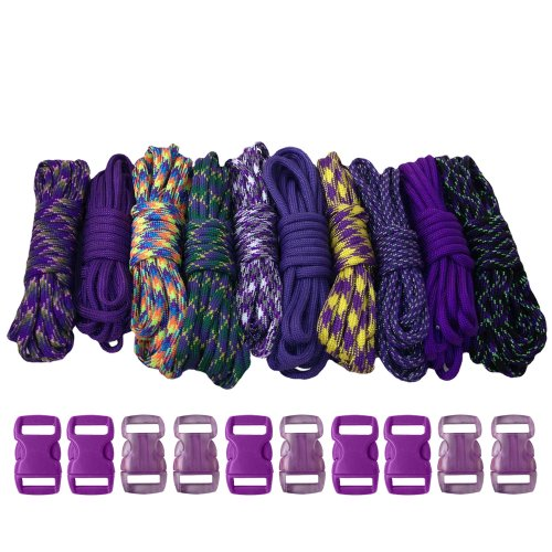 PARACORD PLANET 550 lb Type III Crafting Kits with Buckles, 100', -