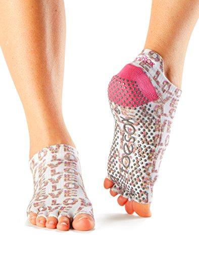 ToeSox Women's Low Rise Half Toe Grip Socks (Love Struck) Small