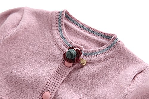 Moonnut Girls Cardigan Sweaters Basic Solid Color Long Sleeve Knitted Outwear (3T, Purple Pink) by Moonnut (Image #2)