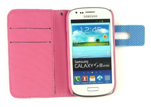 Emartbuy® Sparkling Stylus Pack Para Samsung Galaxy S3 Mini I8190 Pixel Monedero Caso / Cubierta / Bolsa Rosa / Azul Con Ranuras Para Tarjetas De Crédito + Sparkling Hot Rosa Metallic Stylus + Protect