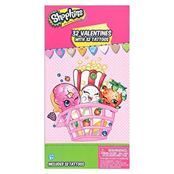 Amazoncom  Shopkins Valentine Cards  32 Cards With 32 Tattoos
