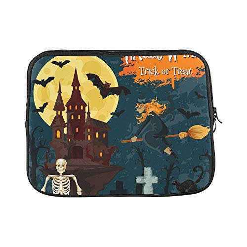 Design Custom Halloween Trick Treat Greeting Card Spooky Sleeve Soft Laptop Case Bag Pouch Skin for MacBook Air 11