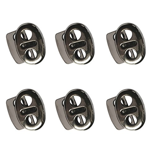- MonkeyJack (Pack of 6) Gray Metal 2 Hole Bean String Cord Locks Clamp Toggle Stop Slider for Paracord, Elastic Cord, Accessory Cordage, Drawstrings, Sewing