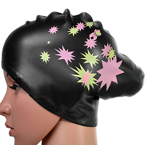 Silicone Swimming Cap Hair Protector Ear Wrap Waterproof Hat Black - 2