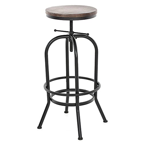 IKAYAA Bar Stool Chair Top Kitchen Dining Breakfast Chair Adjustable Height  Swivel Pinewood Industrial Style