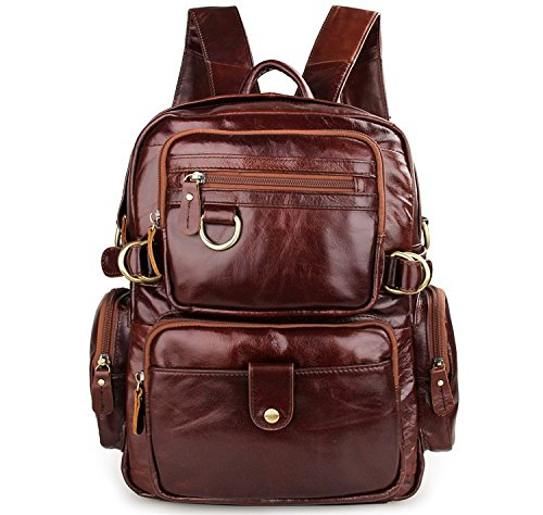 New Soft Genuine Leather Men's Hiking Backpack Big Capacity Travel - New Leather Backpack Genuine Large