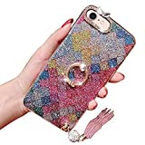 Diamond Case For Iphone 7/Iphone 8, Girlyard [Colorful Rhombus] Crystal Rhinestone Soft Silicone Bumper Luxury Shiny Flash Bling Protective Case with Rotating Stand Ring and Pearl Ball Tassel Pendant