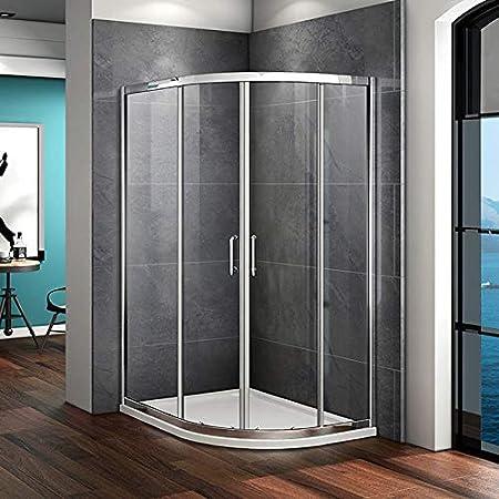 Mamparas de vidrio de ducha con doble puerta corrediza de 6 mm, 900x760mm enclosure: Amazon.es: Hogar