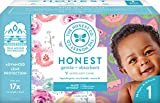 The Honest Company Club Box - Size 1 - Rose Blossom & Sliced Fruit Print with TrueAbsorb Technology | Eco-Friendly Core with Plant-Derived Materials | Hypoallergenic | 80 Count
