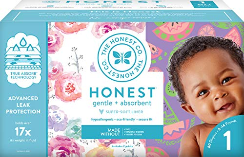 The Honest Company Club Box Size 1 Rose Blossom Sliced Fruit Print With Trueabsorb Technology Eco Friendly Core With Plant Derived Materials Hypoallergenic 80 Count