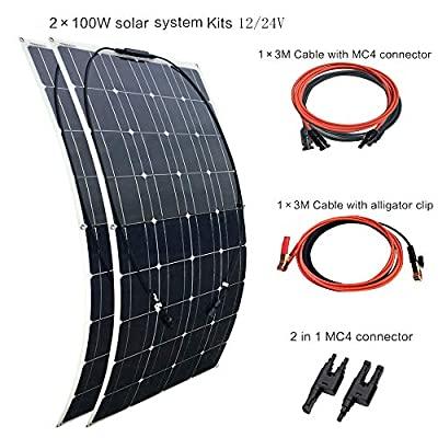 XINPUGUANG Flexible Solar Panel 100 Watt 18V Monocrystalline Photovoltaic PV Solar Panel Module Compatibility with 18V and Below Devices(100W)