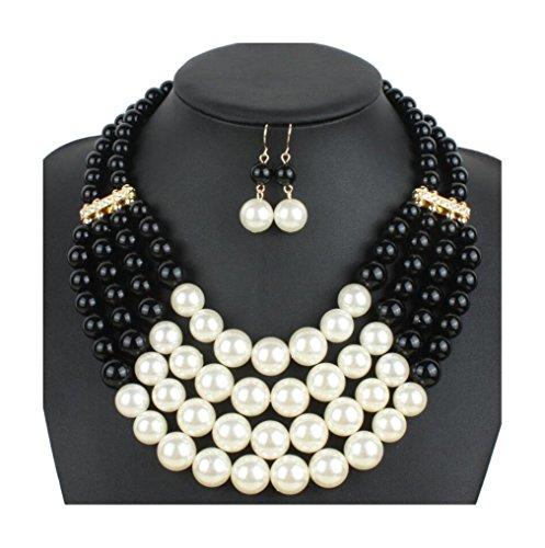 Lanue Women Fashion Jewelry Set Pearl Bead Cluster Collar Bib Choker Necklace and Earrings Suit (Black)