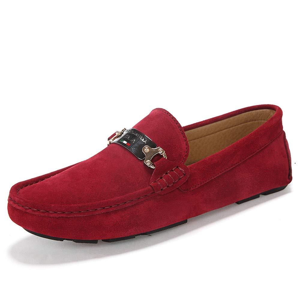 Sunny&Baby Mocasín de conducción cómoda para Hombre Cuero Genuino Vade Vamp Slip en Mocasines Zapatos de Ocio al Aire Libre Antideslizante (Color : Rojo, tamaño : 43 EU) 43 EU|Rojo