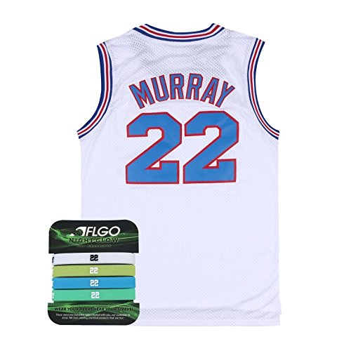 AFLGO Murray Space Jam Jersey Basketball Jersey Include Set GLOW IN THE DARK Wristbands S-XXL White (White, L/50)